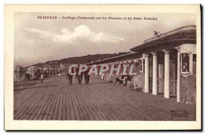 Old Postcard Deauville Fleurie Beach on the boards and the Roman Baths