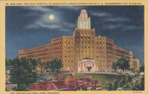 Arkansas Hot Springs New Army amd Navy Hospital By Moonlight Curteich