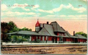 1915 LINCOLN, Nebraska Postcard C.R.I.&P. DEPOT Rock Island Train Station