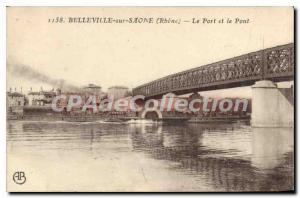 Postcard Old Belleville sur Saone and Rhone Port Bridge