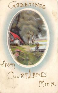 Courtland Minnesota~Embossed Greeting~Man by Lake~House under Trees~1909