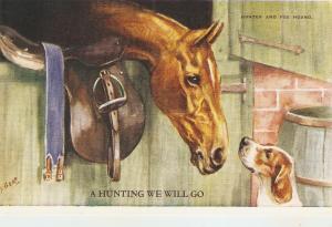 F.E.Valter. Horses.Hunting we will go Lovely Valentine Postcard