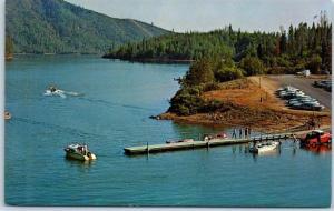 Whiskeytown Lake, California Postcard Air View Boat Landing Whiskey Creek c1960s