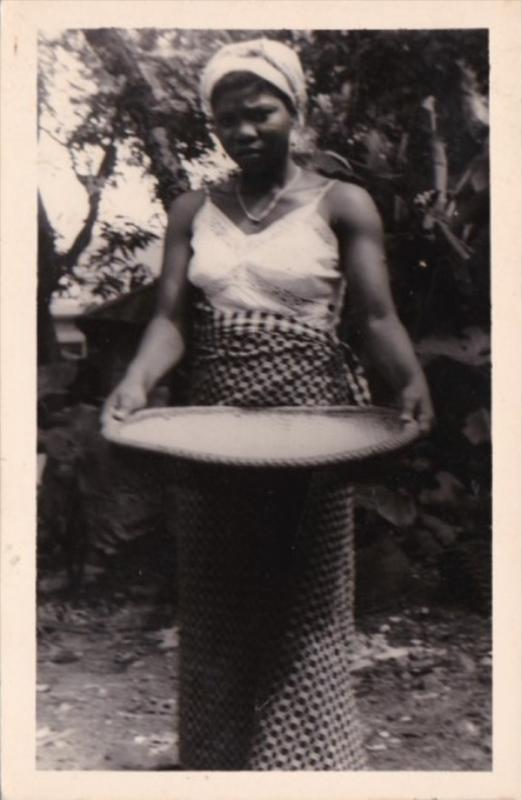 Africa Native Woman Washing Basket Of Grain Real Photo