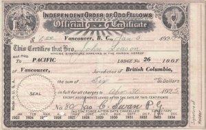VANCOUVER , B.C. , Canada , 1925 IOOF Membership Certificate