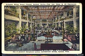 Davenport Hotel Lobby Spokane Washington - Small Corner Crease U/L  (Pre 1920)