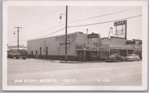RPPC-Mojave, Calif., Greyhound Bus Stop-Mojave Drug Co.-1950's Bus & Autos