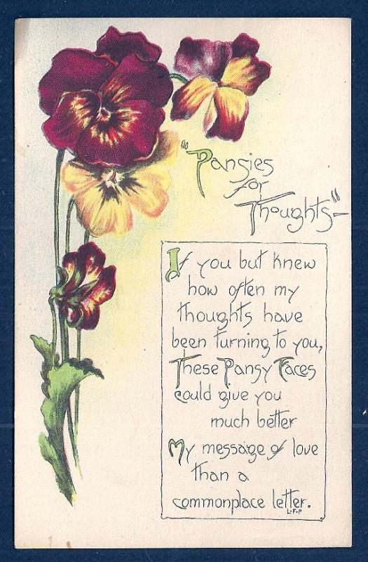 Pansies for thoughts . . .  w/poetry unused c1920