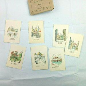 Vintage 12 Bridge Tally Cards Handcolored by Lehman German City Scenes Germany