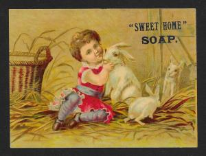 VICTORIAN TRADE CARD Sweet Home Soap Child & Rabbits