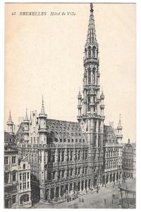 Bruxelles Hotel de Ville Brussels City Hall Vintage Postcard
