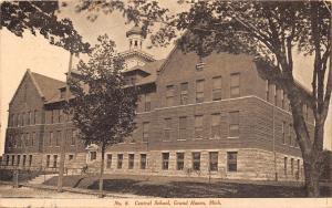 Grand Haven Michigan~Central School~Boys on Steps~1907 B&W Postcard