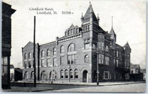 Litchfield, Illinois Postcard LITCHFIELD HOTEL Street View c1910s CR Childs