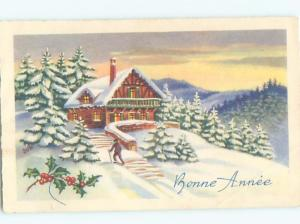 foreign Old Postcard SNOWY HOUSE WITH SNOW-COVERED CHRISTMAS TREES AC3488