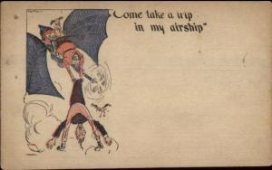 Aviation Fantasy Comic - Come Take a Trip in my Airship c1910 Postcard