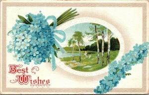 Vintage Best Wishes Postcard - A Blue Flower  Daisies - Postcard