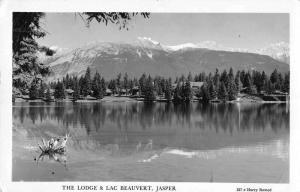 Jasper Canada The Lodge and Lac Beauvert Real Photo Vintage Postcard JE229366