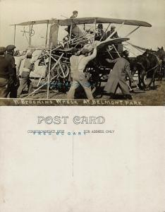 1910 Belmont Park New York Real Photo Postcard: Brookins Wreck Removal - Rare!