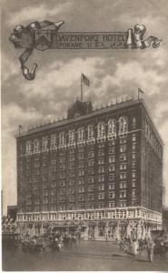 Davenport Hotel ~ Spokane WA Washington ~ with Davenport Hotel Stamp ~ Postcard