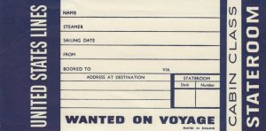 UNITED STATES Ocean Liner Cabin Class Room tag , 1940s