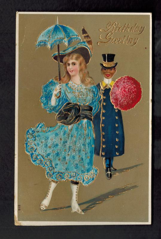 1909 Postcard Cover Black Americana Birthday Greetings Black Man White Woman