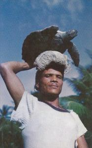 Fisherman Carrying Hawk's Bill Turtle At Balandra Trinidad & Tobago 1956