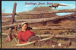 IOWA Greetings from Pheasant Peeping at Archer Sleeping - Chrome