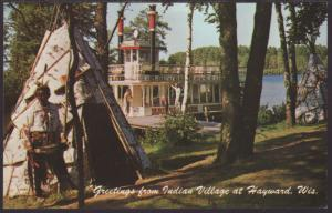Greetings From Indian Village,Hayward,WI Postcard