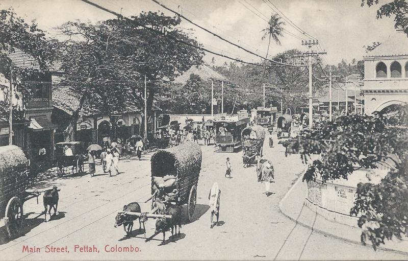 Main Street, Pettah, Colombo, Ceylon, Early Postcard, unused