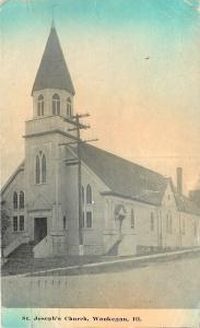 Waukegan Illinois~St Josephs Church~1914 Postcard