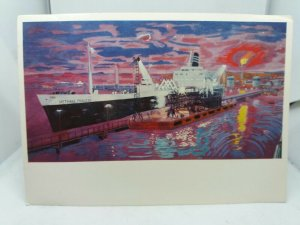 Vintage Postcard Methane Princess Tanker at Arzew Algeria Painting A R Thomson