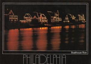 Pennsylvania Philadelphia Boathouse Row On Schuykill River At Night