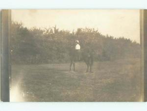 Old rppc HORSE SCENE Great Postcard AB1971