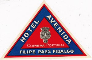 Portugal Coimbra Hotel Coimbra Vintage Luggage Label sk2376