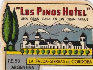 Argentina Sierras De Corcoba Los Pinos Hotel Vintage Luggage Label sk1313
