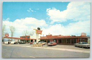 Panguitch Utah~Flying M Cafe~Phillips 66 Gas Station~Cow on Neon Sign~1950s Cars
