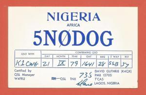 QSL AMATEUR RADIO CARD – LAGOS, NIGERIA – 1979