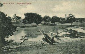 PC CPA SRI LANKA, CEYLON, CHURCH AND FORT, NEGOMBO, Vintage Postcard (b13677)