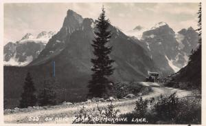 On Auto Road to Moraine Lake, Alberta, Canada, Early Real Photo Postcard, Unused