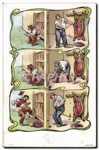 Old Postcard Butcher