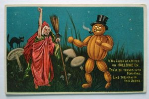 Antique Halloween Postcard Anthropomorphic Goblin Man Anglo-American Witch 876