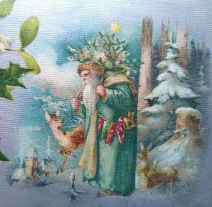 Winsch Back Aqua Coat Santa Claus Deer Rabbits Forest Fantasy Christmas Postcard