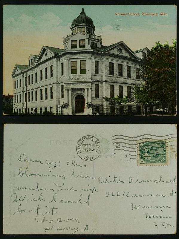 Normal School, Winnipeg Manitoba to Winona Minneapolis 1911