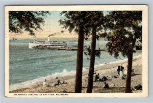 Bay View MI, Steamboat Landing, Vintage Michigan c1924 Postcard