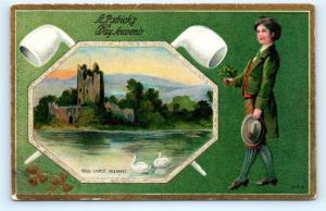 Postcard St Patrick's Day Souvenir Ross Castle Killarney c1910 I18