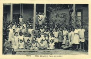 tahiti, PAPEETE, School of Young Girls (1930s) Mission Postcard (1)
