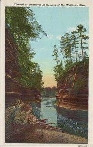 Wisconsin WI River Dells Steamboat Rock Channel Postcard Vintage Postcard View