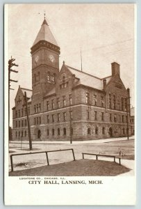 Lansing Michigan~City Hall~Clock Tower~View from Across Street~c1905