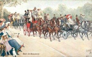 Bois De Boulogne Stagecoach France Tuck C-1910 #942P Postcard Oilette 20-1601