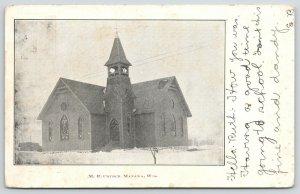 Manawa Wisconsin~Snowy Day @ The United Methodist Episcopal Church~1907 UDB B&W